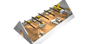 Digitales Modell des Obergeschosses (Früherer Entwurfsstand)
