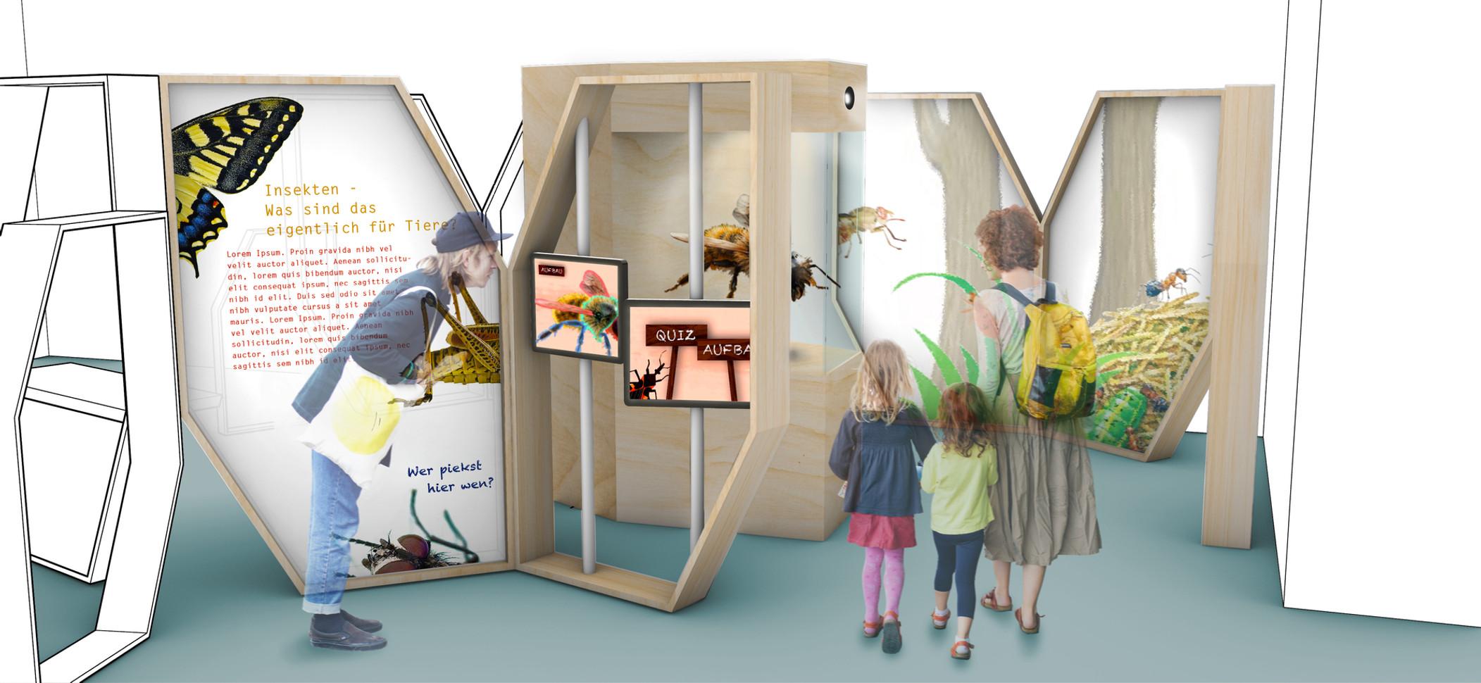 """Rendering für den Entwurf der Wanderausstellung """"Pro Insekt""""  (Wettbewerb des CeNak Hamburg, 2. Platz) - Ein Projekt von gwf-ausstellungen"""