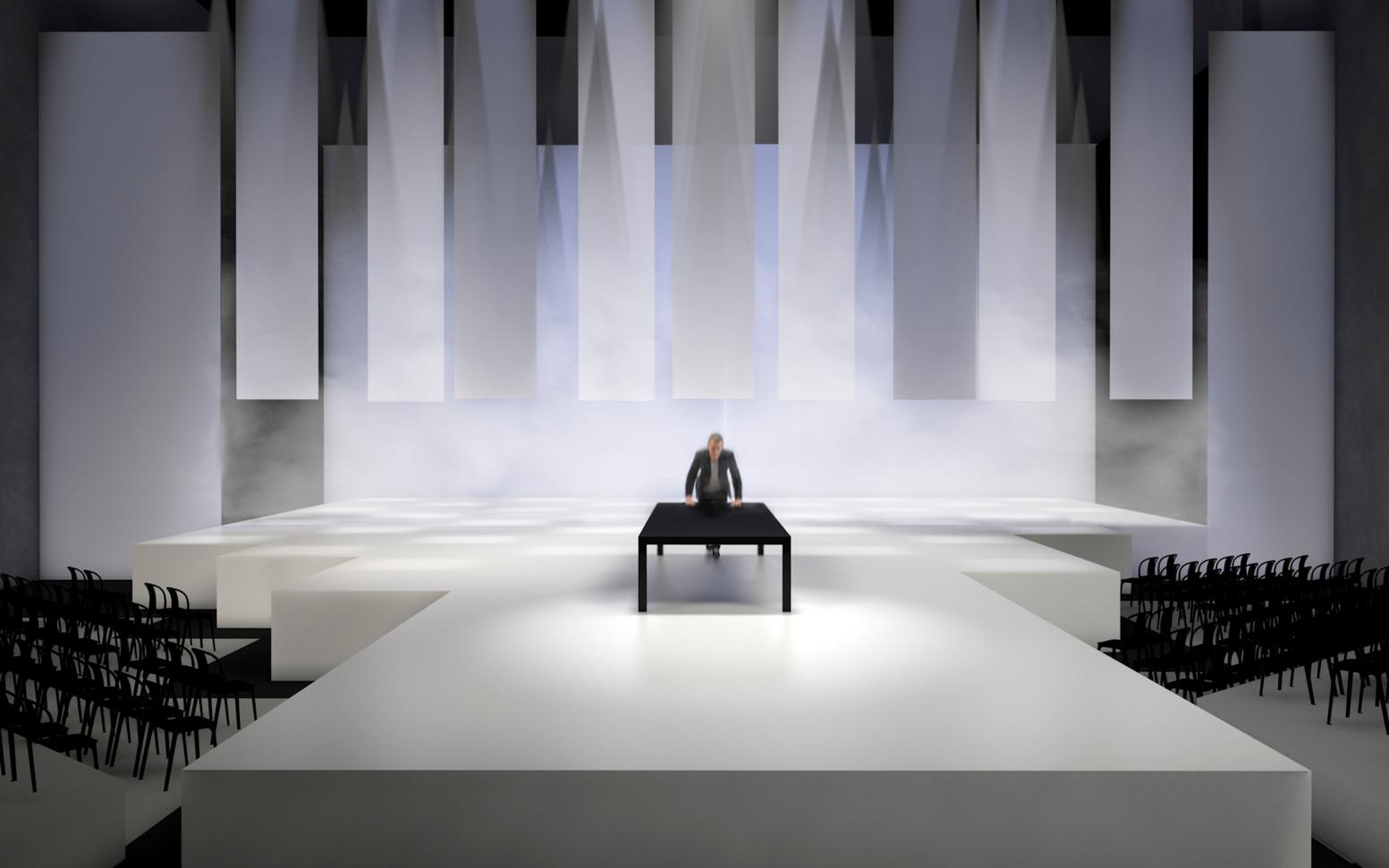 """Rendering für den Entwurf des Bühnenbilds für das Stück """"Strebsam sei der Mensch"""" - Ein Projekt an der Muthesius Kunsthochschule, mit Anne Lamprecht und Berit Reutershan"""