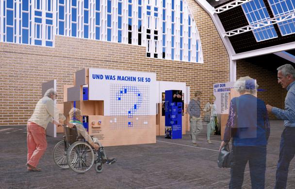 """Rendering für den Entwurf der Wanderausstellung """"Und was machen Sie so?"""" (Wettbewerb der Lebenshilfe Kiel) - Abschlussprojekt an der Muthesius Kunsthochschule"""
