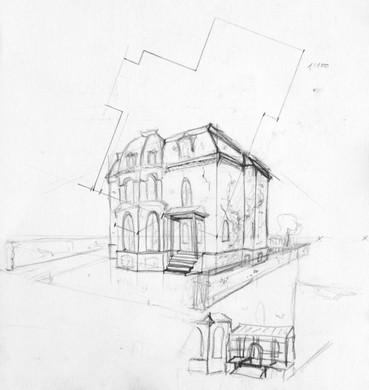 """Skizze für den Szenenbildentwurf des Kurzfilms """"The Small Garden"""" - Ein Projekt an der University of Salford"""