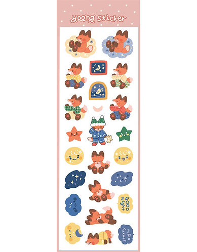 Good Night Fox Hologram Sticker