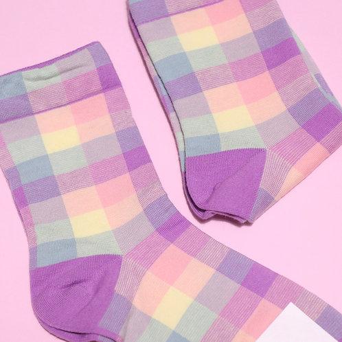 Purple Check Socks