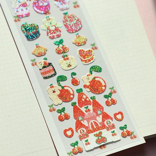Jelly Glitter Sticker 3: Cherry Series