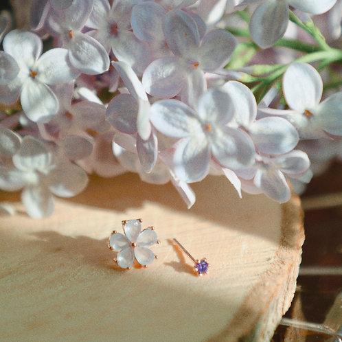 Lilac Flower Earrings Set