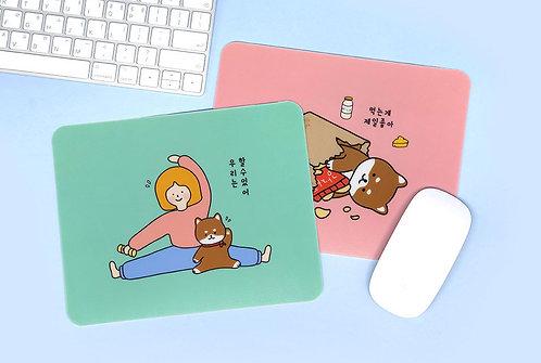 Shiba & Girl Mouse Pad