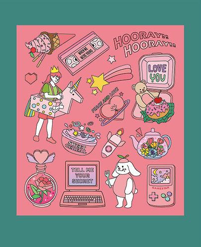 Joyful Pink Color Point Sticker