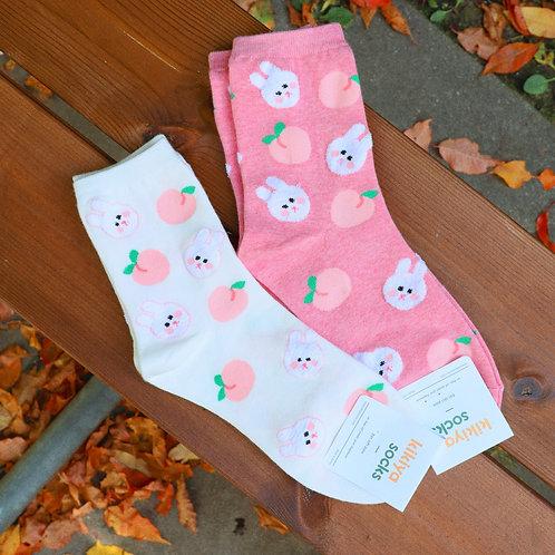 Bunny and Peach Socks