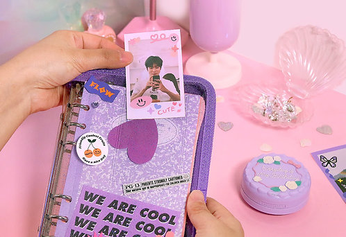 [A6] Twinkle Zipper Cover Baby Pink