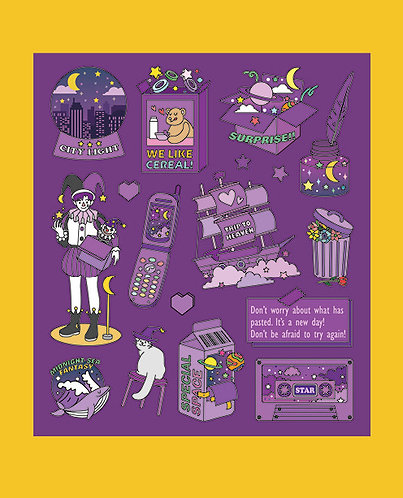 Fantasy Purple Color Point Sticker