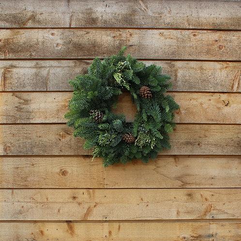"Mixed Evergreen Wreath 12"""
