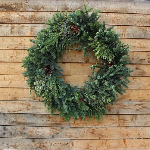 "Mixed Evergreen Wreath 36"""