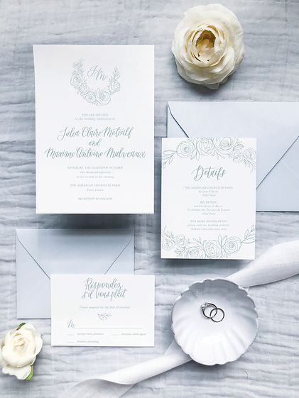 Semi Custom Wedding Invitations Crest Flowers