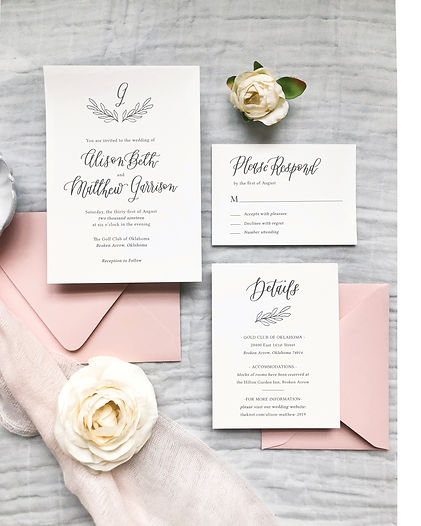 Semi Custom Wedding Invitations Monogram Wreath