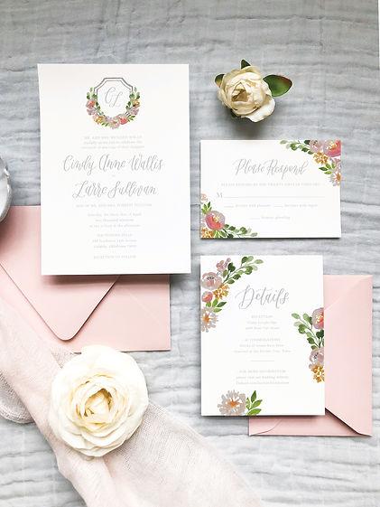Semi Custom Invitations Pink Watercolor Crest Flowers