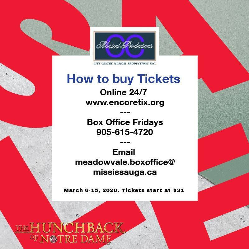 How to buy tickets for The Hunchback of Notre Dame at Meadowvale Theatre in Mississauga