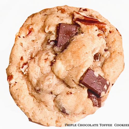 Triple Chocolate Toffee Cookies