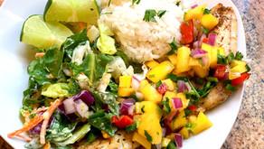 Rockfish with Mango Salsa and Coconut Rice