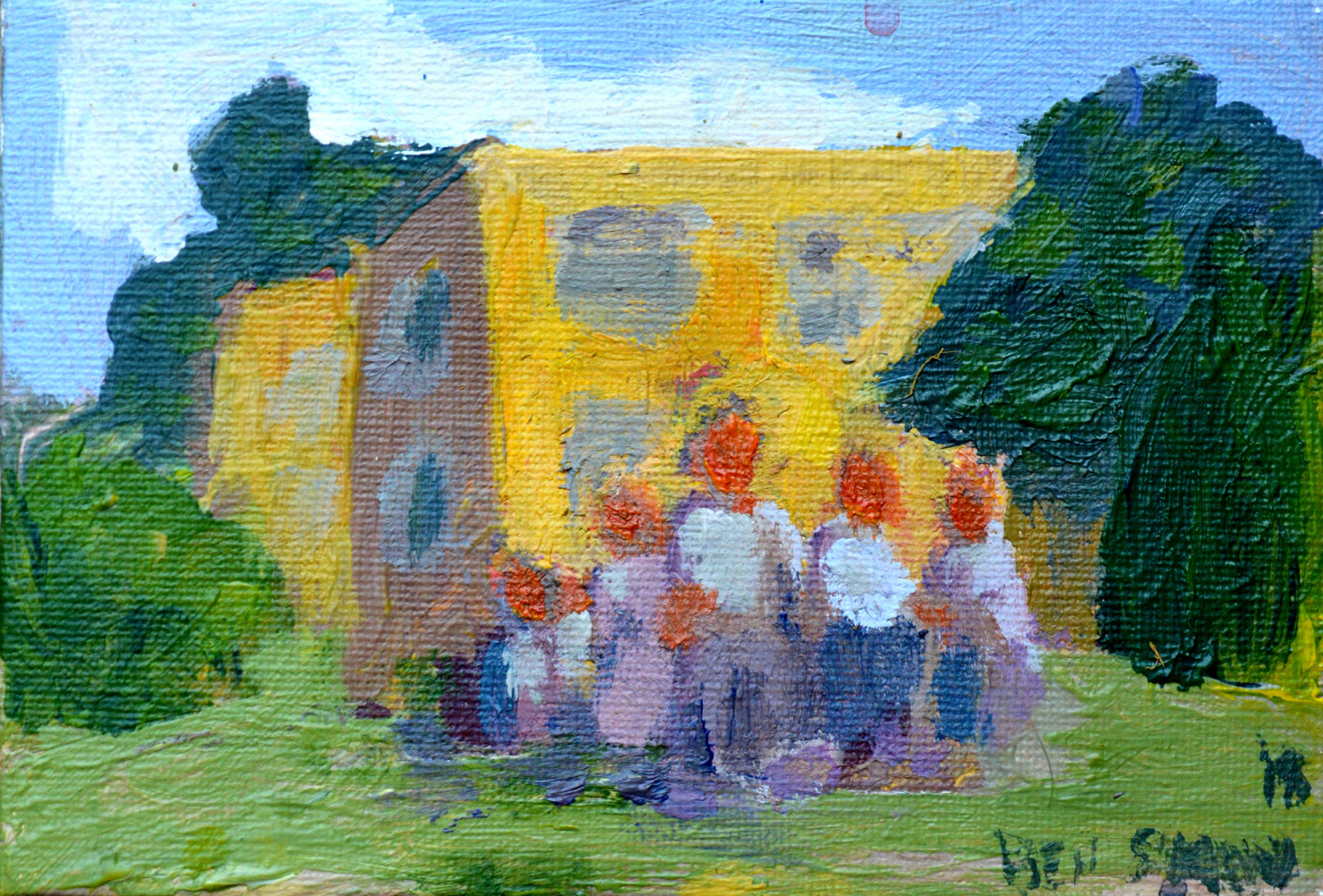 Group in Front of Buildings