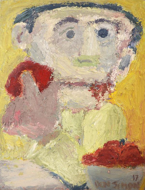 Tomoto Eater oil paint on canvas. impasto. Modern Israeli Art