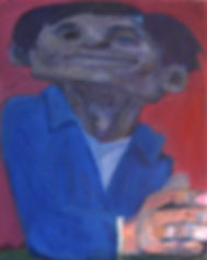 Blue Shirt Purple Face, acrylic on canva