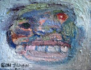 Untitled Blue Head, oil on panel 28 x 35