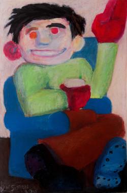 'Red Hand In The Corner' 60 x 80cm, oil pastel on paper.jpg