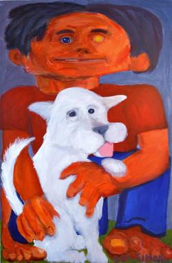 Orange Head White Dog