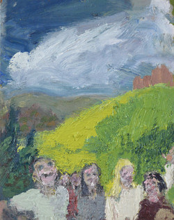 Group in Landscape oil paint on panel 43 x 31cm%