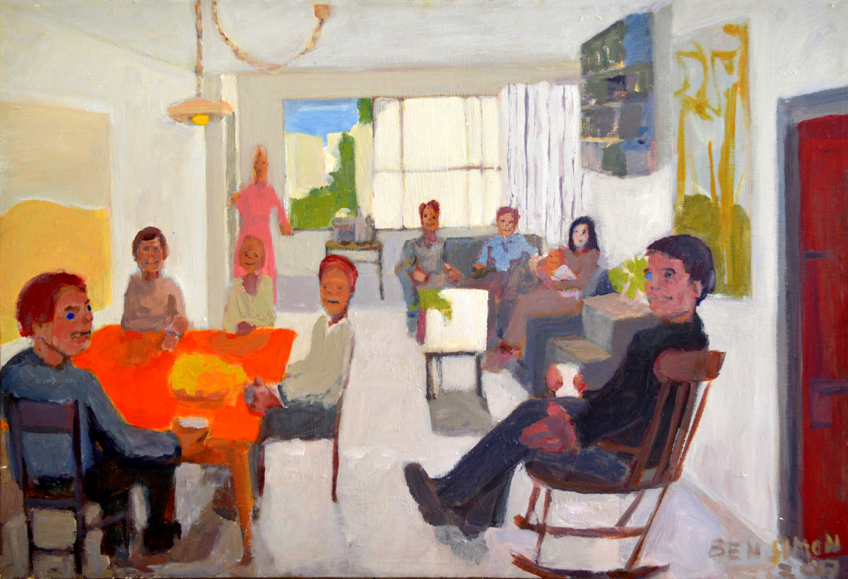 Livingroom Group acrylic on canvas 124 x 84cm