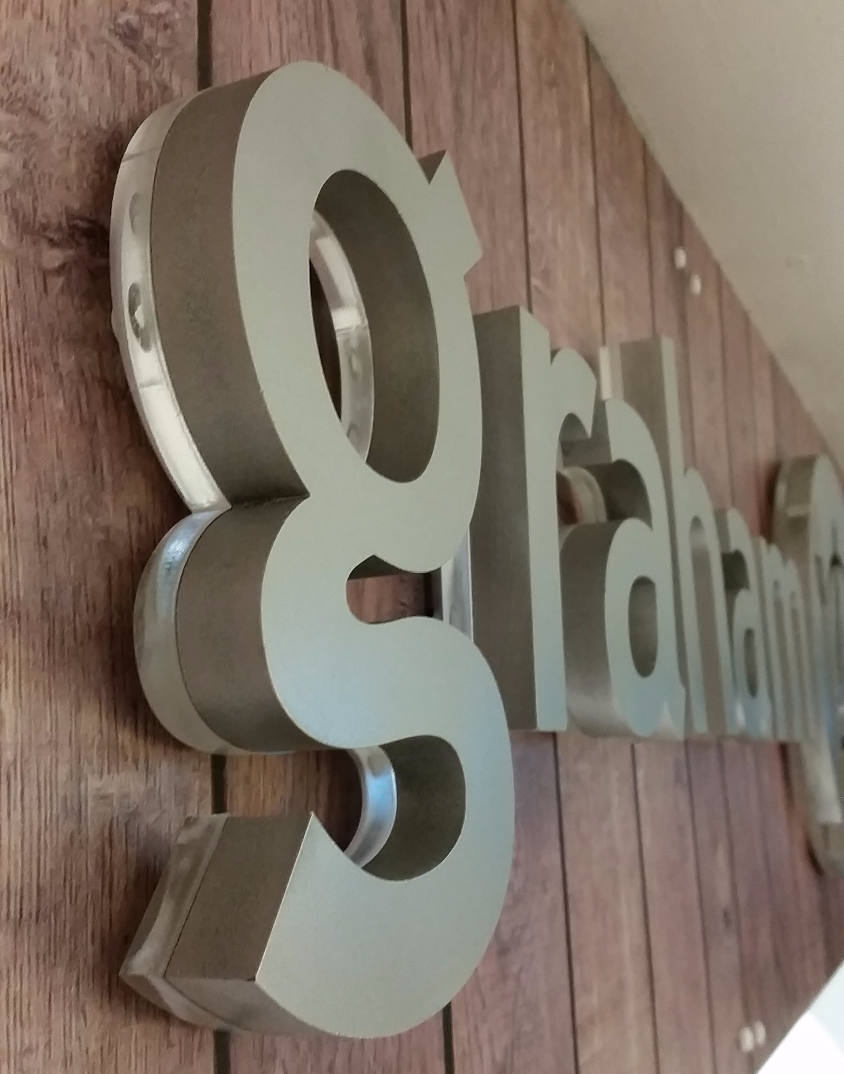 Laser cut and sprayed acrylic letter