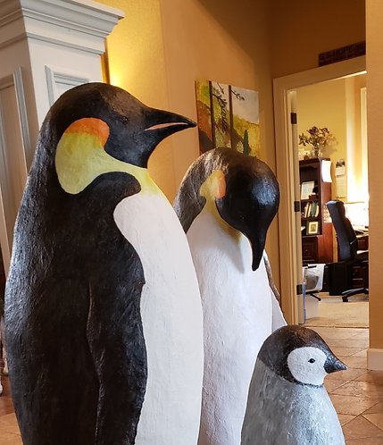 Life sized (25.5 to 48 inches tall) Emperor Penguins-Sold as Family only.