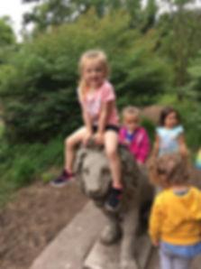 Kids playing at zoo