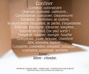 Poème d'Hélie Bécot sur le verbe confiner, à la manière de George Pérec