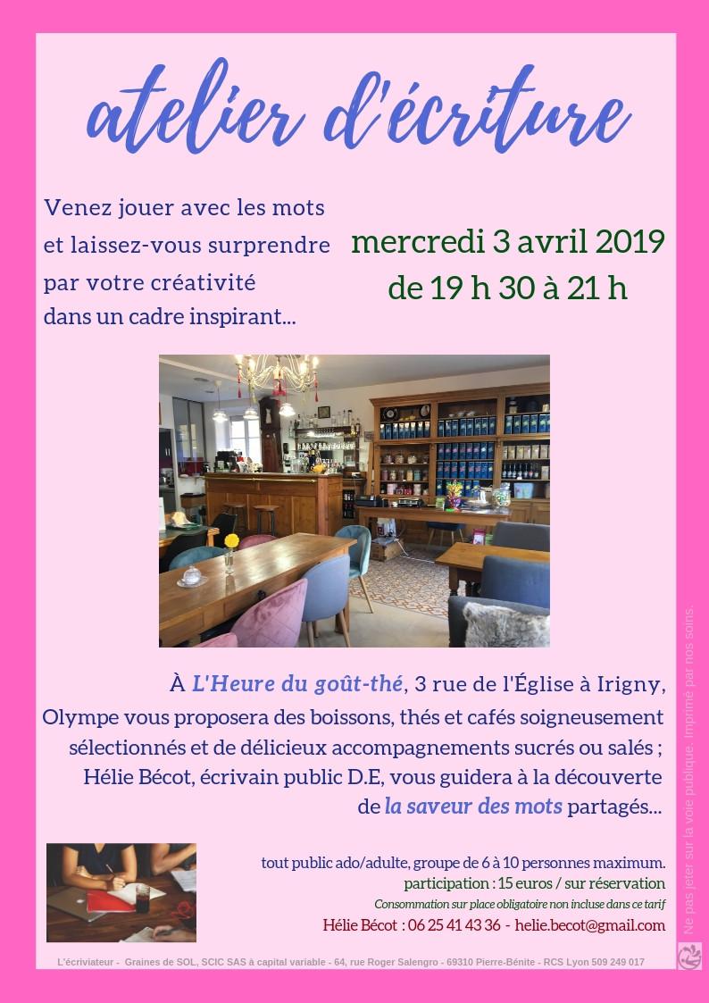 Atelier d'écriture découverte à Irigny - l'heure du goût-thé
