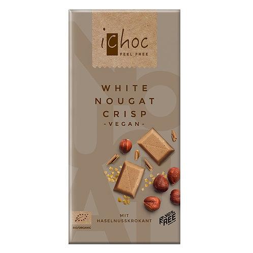 iChoc Fehér Ropogós Nugát csokoládé tábla 80g