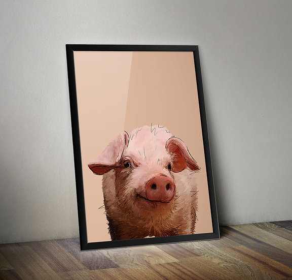 Piggywink - Pig giclée print.