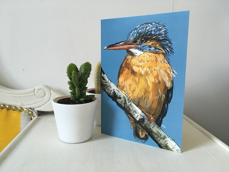 Ready and Waiting - Kingfisher Greetings Card