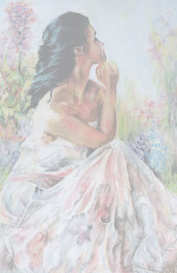 Pastel art drawing of lady in the garden.