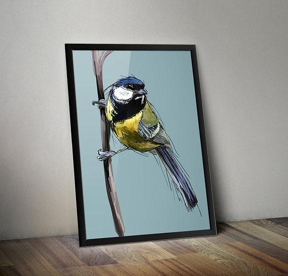 Great Tit - Bird giclée prints.