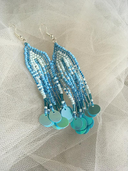 Beaded and SequinBlue Drop Earrings