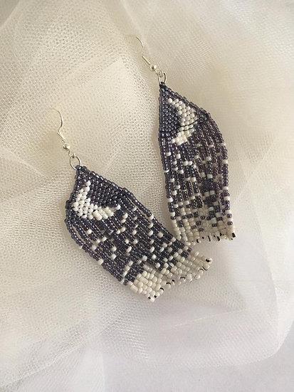 Beaded Moon Drop Earrings