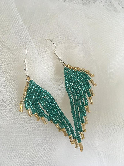 Beaded Green and Gold Drop Earrings