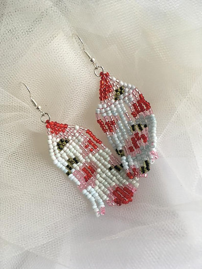 Abstract Beaded Floral Drop Earrings