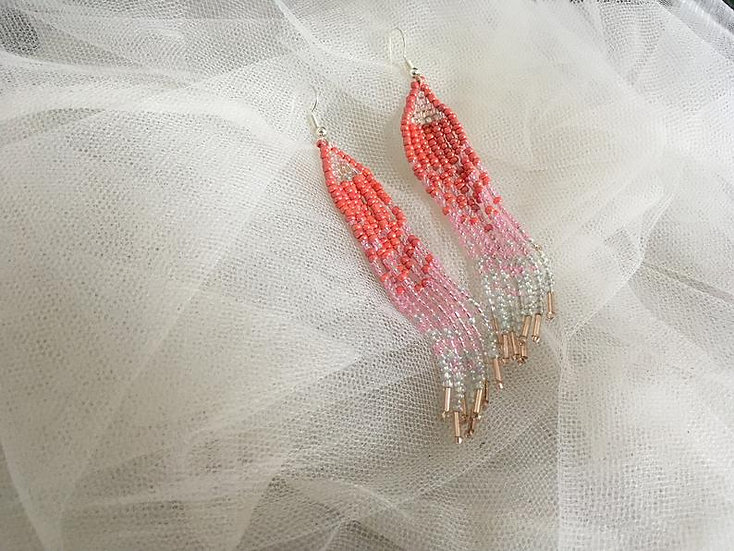 Beaded Pink and White Triangle Drop Earrings