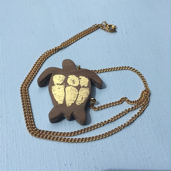 Turtle Necklace - Hand Carved Walnut Necklace