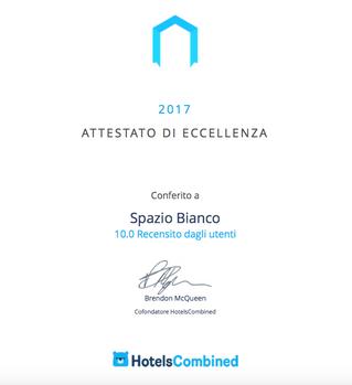 SPAZIO[BIANCO] TRA L'1% DELLE MIGLIORI STRUTTURE RICETTIVE IN ITALIA
