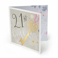 21st Birthday Luxury Birthday Card Open.