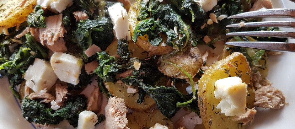 Blechkartoffel mit Spinat, Thunfisch u. Ziegenkäse