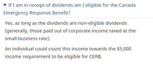 """Update from the Government of Canada indicating that non-eligible dividends are considered """"earned income"""" for purposes of the CERB program."""